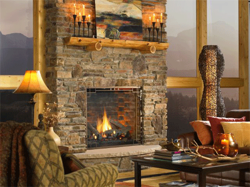 Stone Fireplace in a Chalet